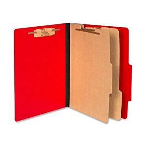 Acco ColorLife Presstex Classification Folder - Letter - 8.5amp;quot; x 11amp;quot; - 2 Divider - 3amp;quot; Expansion - 0.5amp;quot; Capacity - 10 / Box - 15pt. - Red