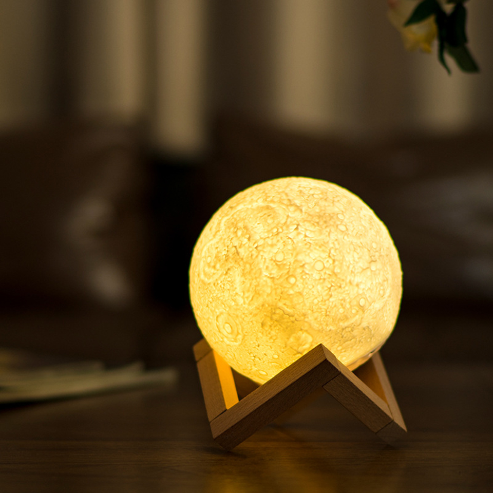 3D Printed Lunar Lamp USB Rechargeable Touch Switch Induction Control 13 Cm  Night Lights Best Gift