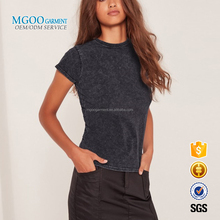 MGOO Bulk Price Short Sleeves Custom Plain Snow Wash Crew Neck Can Print Your Own Logos Women Slim Fit T-shirts