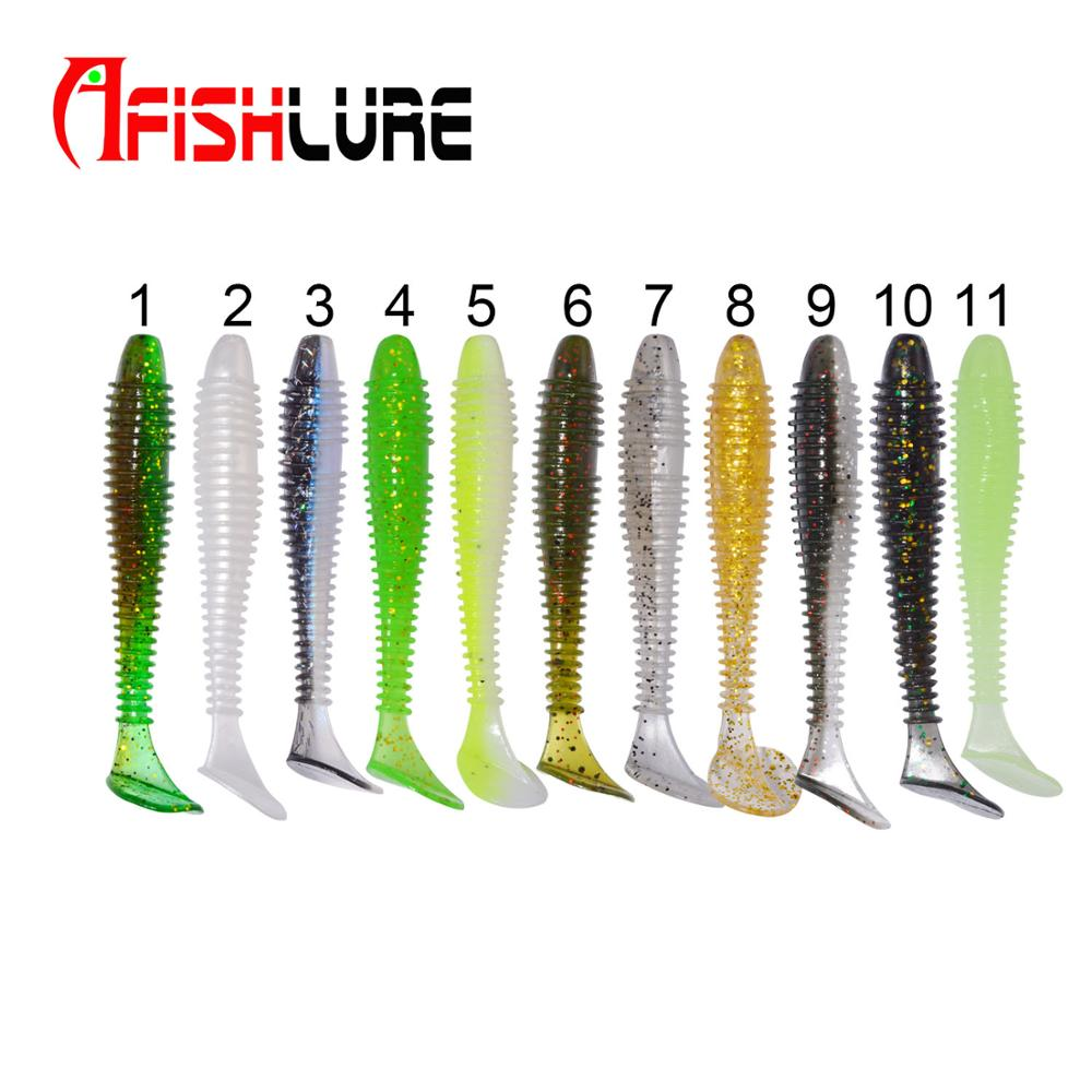 Afishlure Screw T Tail soft Bait 55mm/1.45g SwimBait Paddle Tail Plastic Worm Fishing Lure Small T Tail Soft Bionic Bait, Various color