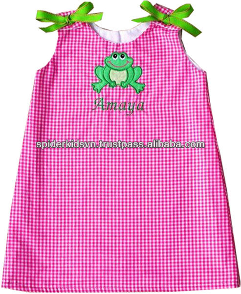 Pink Gingham Appliqued Frog Baby Girls Dress