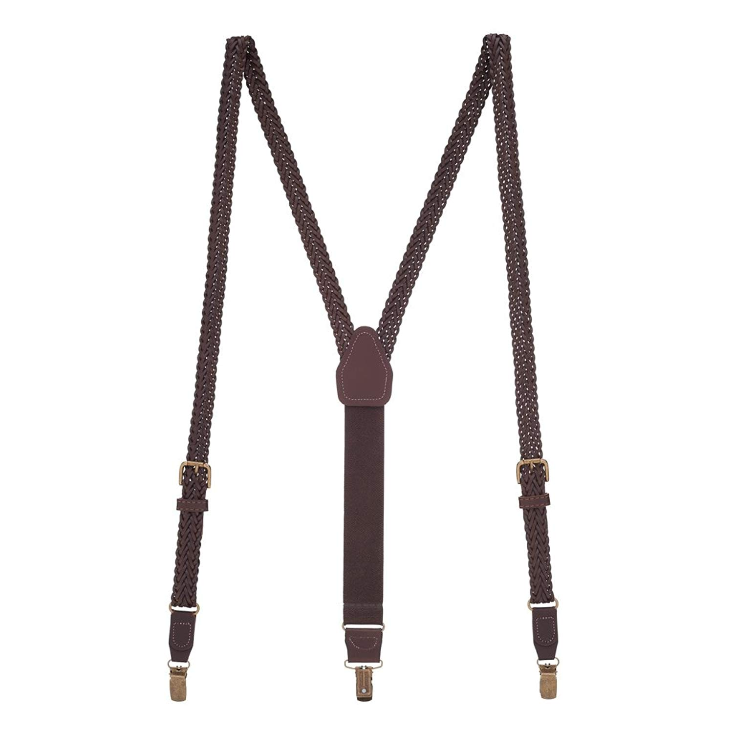 CTM Kids Smooth Leather .75 Inch Wide Clip-End Suspenders