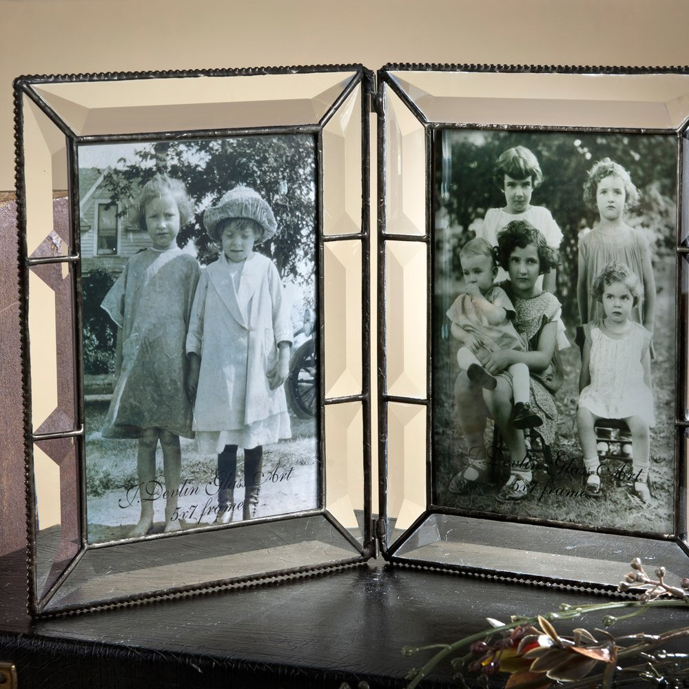 J Devlin Pic 100-46-2 Double Hinged Beveled Glass Picture Frame Holds 4x6 Portrait Landscape Photo