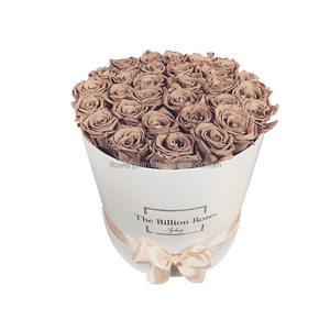 luxury rose delivery round packaging big flower gift box logo printing with ribbon for sale in China