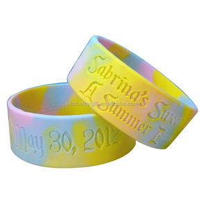 1 inch Wide Swirl Debossed Rubber Wristbands