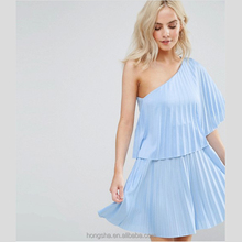 Sexy PETITE Một Vai Pleat Mini Dress casual HSH6048