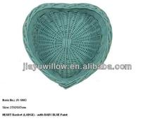 Light Blue wicker gift baskets shape in heart for christmas