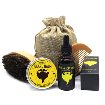 Private custom made logo design beard oil brush barber grooming kit for men