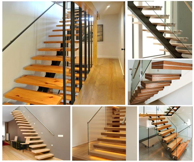 Custom Stairs Modern Glass Railing Wood Straight Staircase