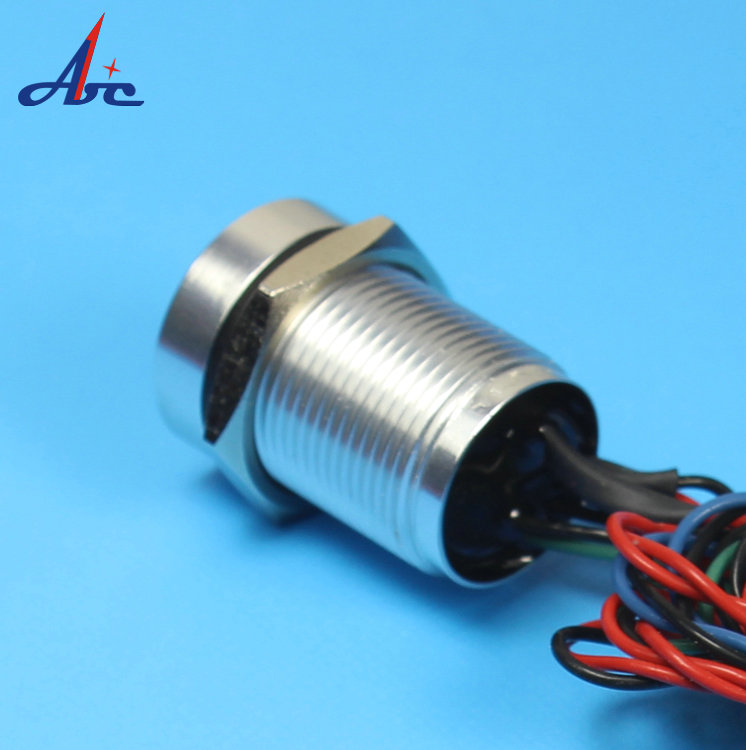 A1 Excellent Quality 16mm NO Flat Head Latching 24V Ring LED For IP68 Seal Metal Piezo Button Switch