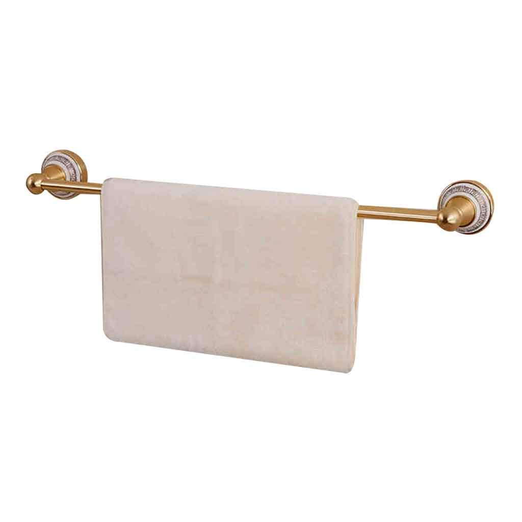 Towel rack Towel Bar Rack Bathroom Shelf Bathroom Shelf Wall Mounted Bathroom Towel Bar Brushed Bathroom Shelf Towel Hook Holder Roscloud@ (Color : Gold)