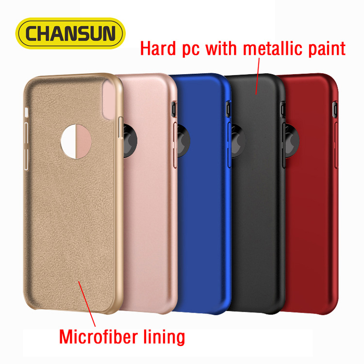 High quality metallic paint pc case with microfiber lining for iphone 8 simple style mobile phone case for iphone 8