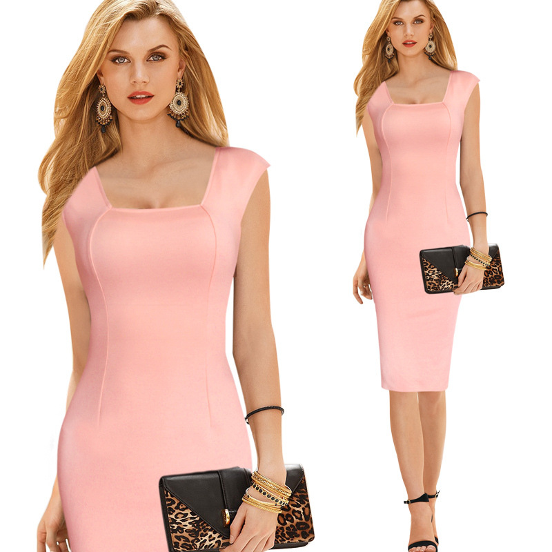 Plus Size Womens Contrast Dress Business Formal Ladies Office Wear