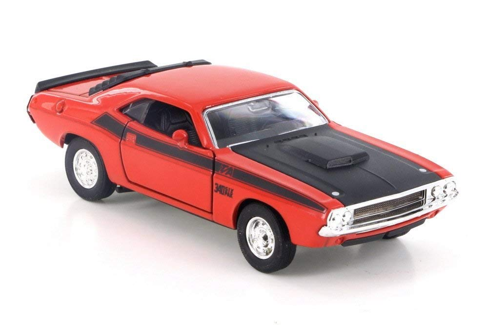 "Welly 1970 Dodge Challenger T/A, Red w/ Black 43663D - 4.5"" Diecast Model Toy Car but NO BOX"