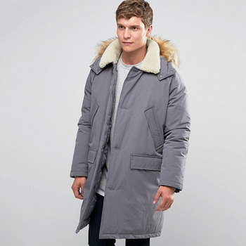 Parka Jacket With Borg Collar In Grey Snow Men Windbreaker Jacket ...