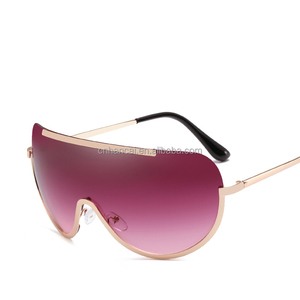 01e082d1a4 New Oversize Shield Sunglasses Big Frame Alloy One Piece Sexy Cool Sun  Glasses Women Gold Clear