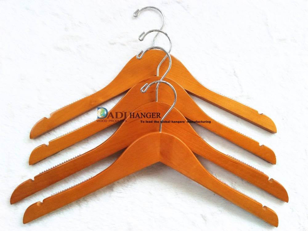Women styles wooden clothes hanger with anti slip rubber on shoulder