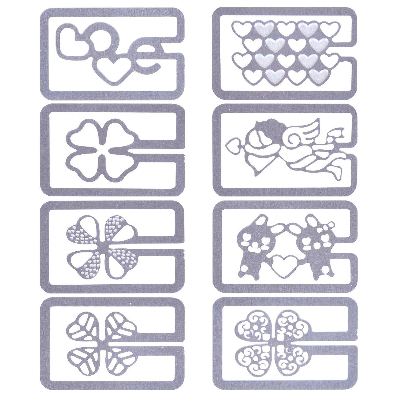 Rancco 40 Pcs Mini Metal Bookmark, Ultra-thin Hollow out Bookmark Clips Index Paper Clips(8 Model, 5pc per Model)