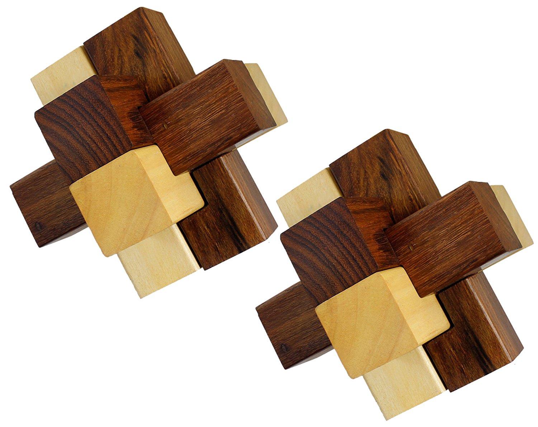 Buy Set of 2 - 3D Wooden 6-Pieces Interlocking Block Toy