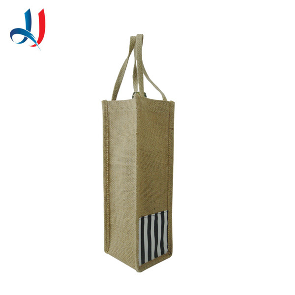 fashion Trade Assurance Wholesale Handle and Promotion Reusable Burlap Wine Bag for 1 bottles or 2 bottles