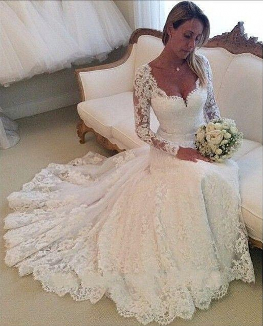 Mermaid Lace Wedding Gown: 2015 Lace Wedding Dresses Long Sleeves Mermaid Wedding