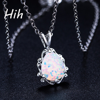 Fashionable alli express statement necklace jewelry rose gold necklace opal pendant