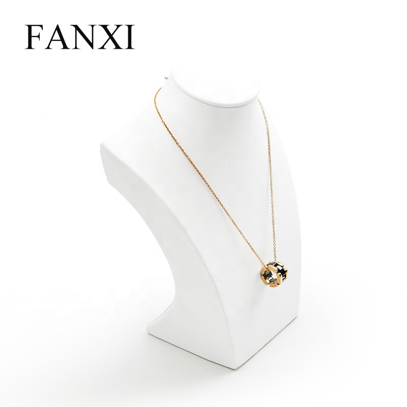 FANXI Chinese Supplier Cheap Necklace Pendant Jewelry Display Stand Bust Shop Showcase White PU Leather Necklace Mannequin фото