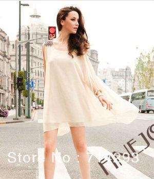 Fashion Girls' Sexy Sleeveless Beaded Dress Chiffon Mini Dress ...