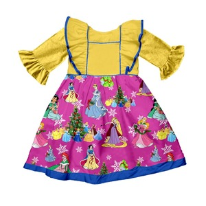 Wholesale spring little girl 3/4 sleeve party tunic kids frocks designs fancy cutting dress