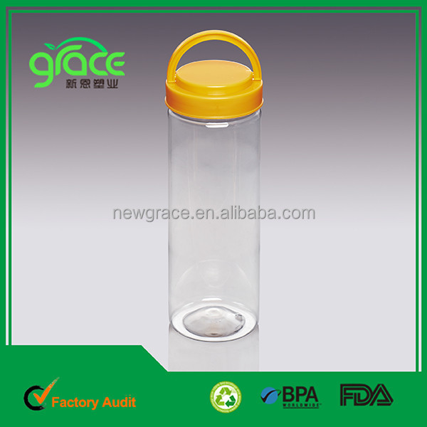 650ml long cylinder shape plastic liquid container with handle lid