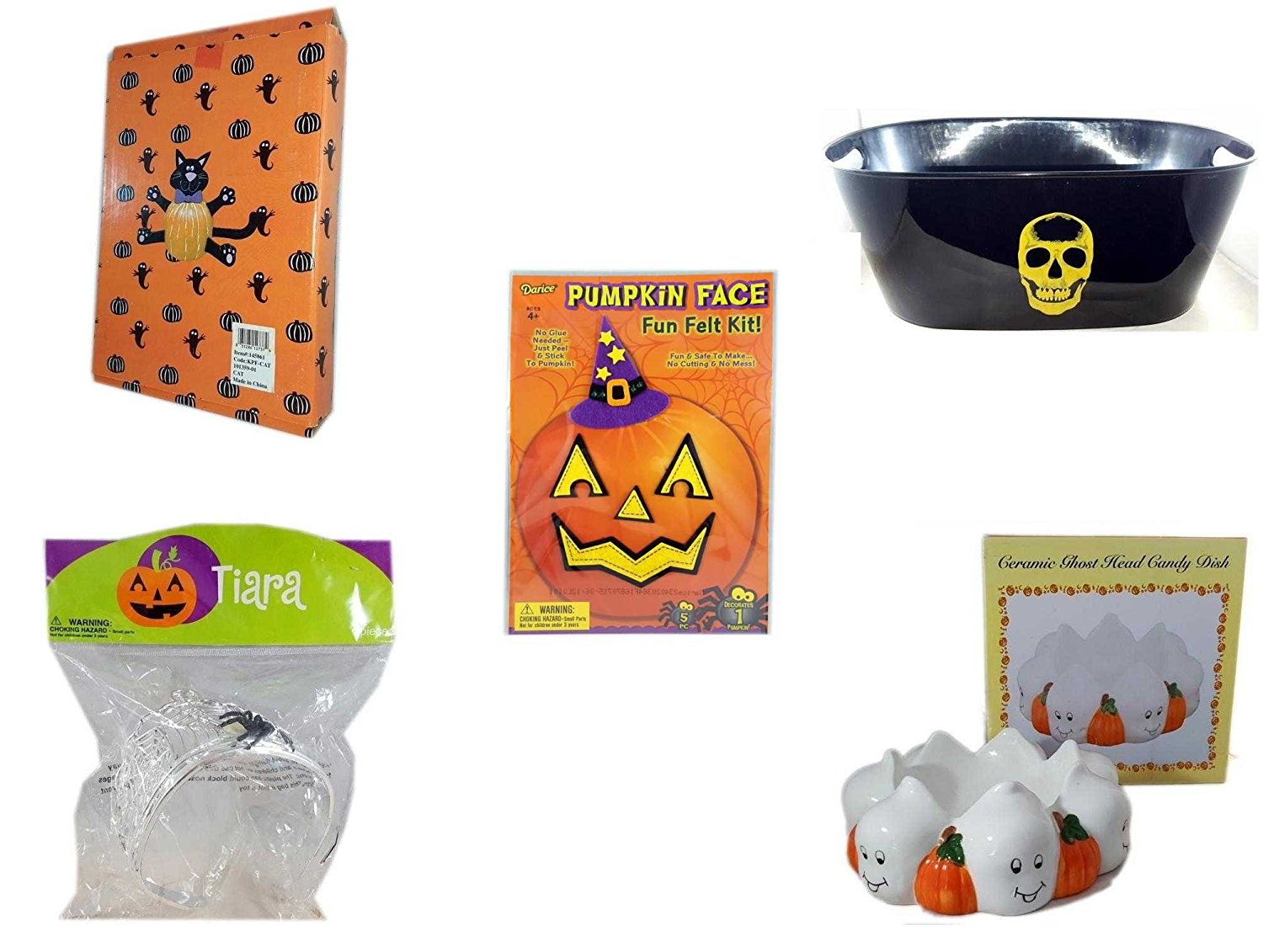 Halloween Fun Gift Bundle [5 piece] - Halloween Cat Pumpkin Push In 5 Piece Head Arms Legs - Black With Skeleton Oval Party Tub - Darice Pumpkin Face Fun Felt Kit - Witch - Halloween Spider Tiara -