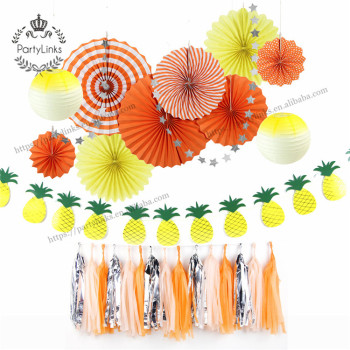 Summer Party Decoration Kit Pineapple Garland Paper Rosette / Lanterns Tassel Star Garland Tropical Luau Beach Wedding Shower