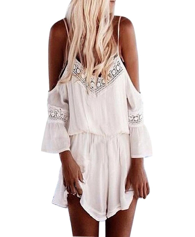 8033441b1d Get Quotations · Tenworld lady Straps Halter Crochet Playsuits Summer Beach  Jumpsuits Romper Sexy