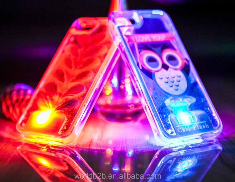 LED Flash night owl Moving Bling Glitter liquid case for iphone 7 фото
