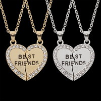 Yiwu Meise 2 Parts Charming Necklace engraved Best Friends,Silver Gold Broken Heart Pendant