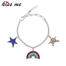 Vintage Fairytale Charms Star Moon Pendent Link Chain Bracelet, Adjustable, Great Gift For Women