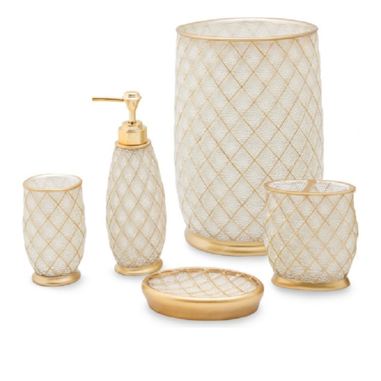 Gold Line Luxury UAE Style Clear Resin Household Bathroom Set