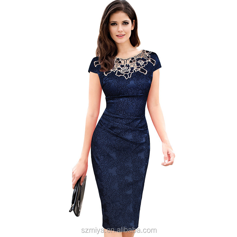 Short sleeve wedding dress Rose pattern womens slim fit lace dress straight bodycon dress