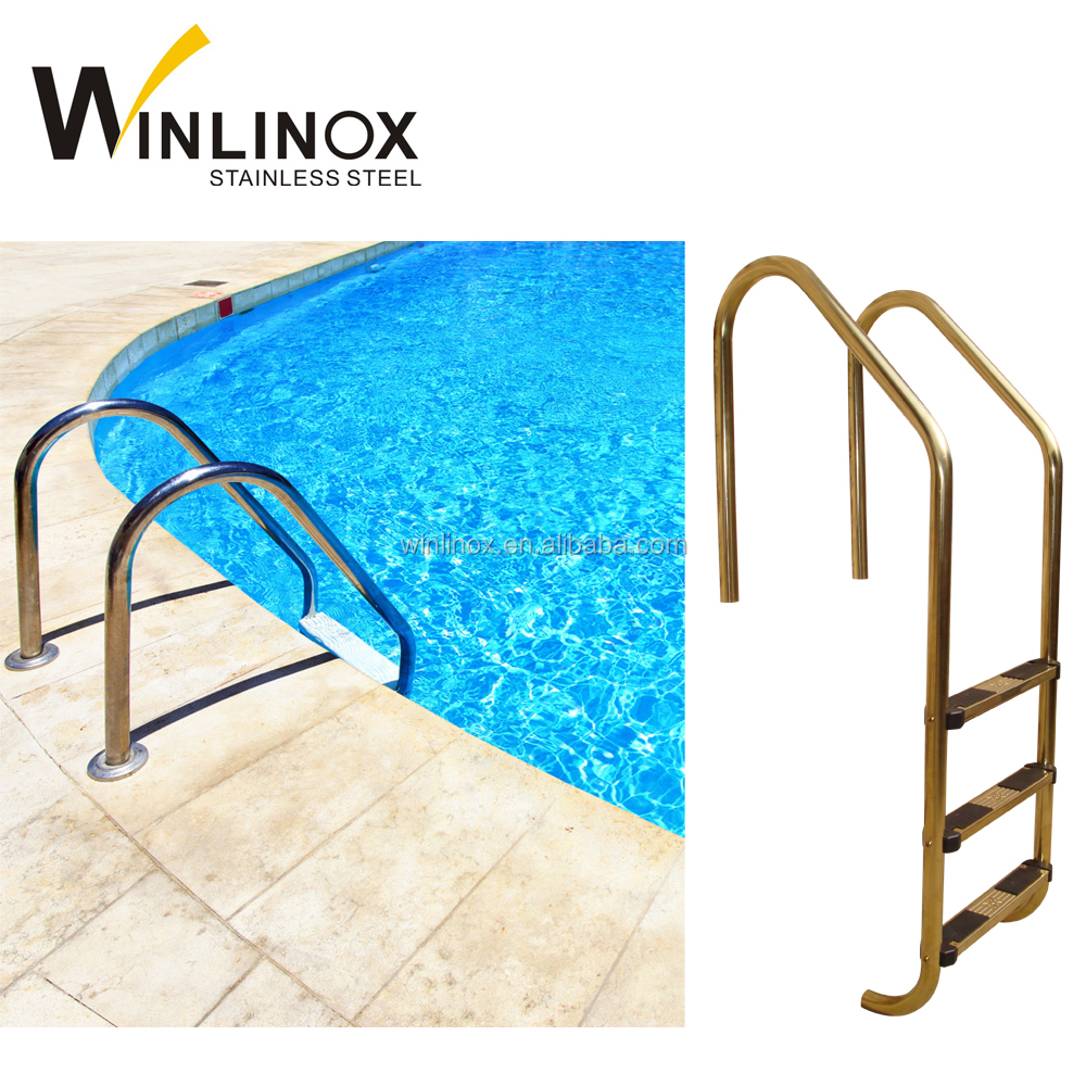Golden Mirror Stainless Steel Swimming Pool Step Ladder With Safety Rail -  Buy Swimming Pool Step Ladder,Stainless Steel Pool Ladder,Pool Ladder Steps  ...