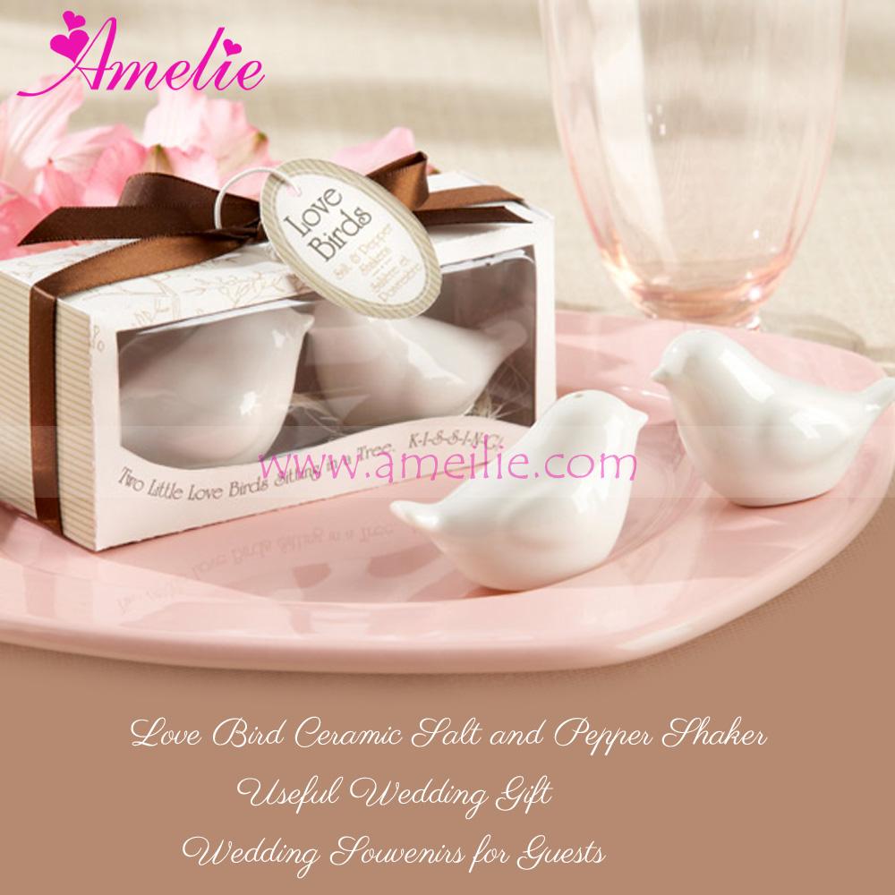 Personalized Love Bird Ceramic Salt And Pepper Shaker Wedding Hand