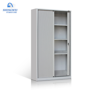 Office furniture customized steel storage 2 sliding door durable roller shutter door cabinet