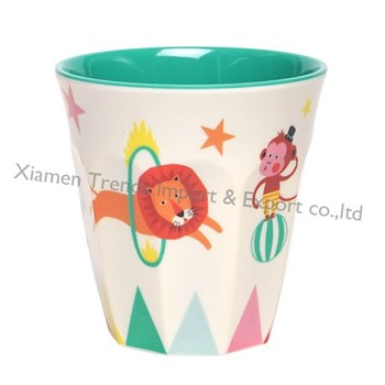 Unbreakable white green 2 colors 200ml circus small kids melamine cup