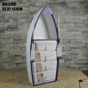 White Antique Boat Cabinet, 52x27x133cm, Wooden Ship Design Rack