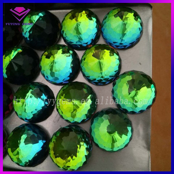 Round Colorful Gems Synthetic Earring Crystal Mystic Glass Wuzhou