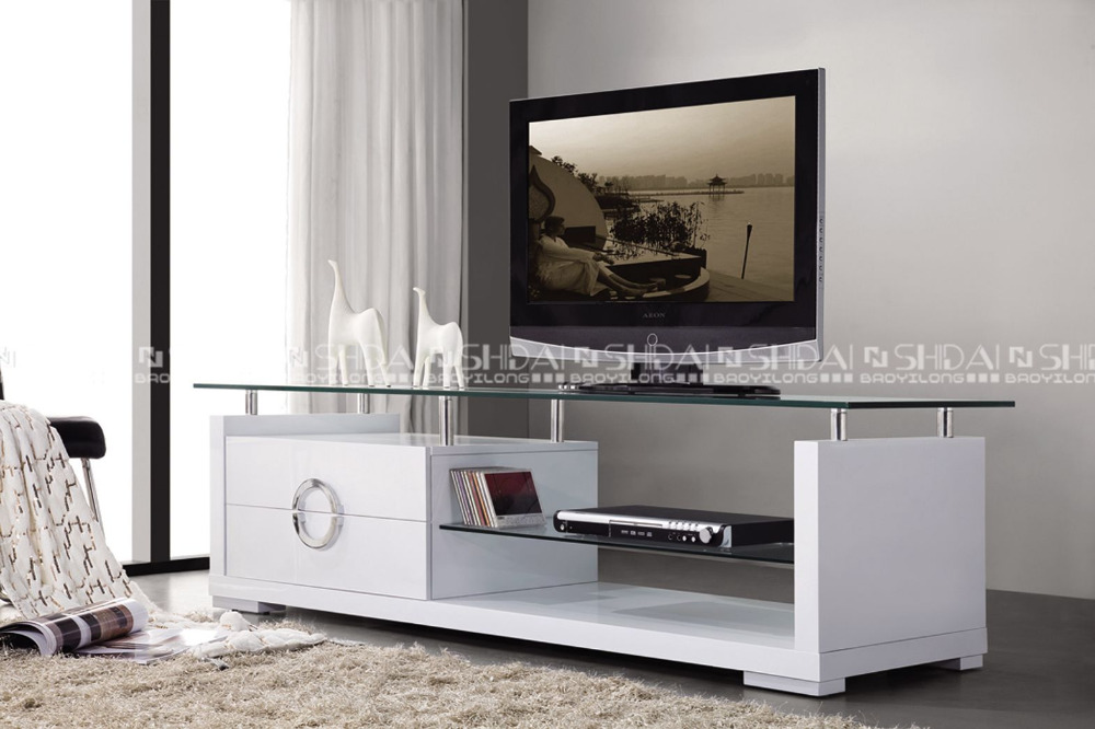 Meuble tv moderne moderne en bois meubles tv avec plateau en verre
