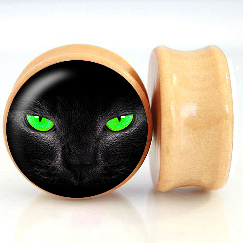 2pcs/Lot Pair of Nature Wood Ear Plugs Fit Ear Gauges Plugs - Green Eye Cat 6MM-25MM 2G-1'' Flesh Tunnels