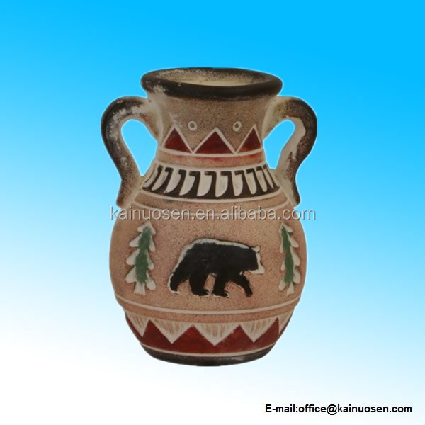 Bear Clay Pottery Wedding Vase, Etched Primitive Native American Design, 7-inch, Round