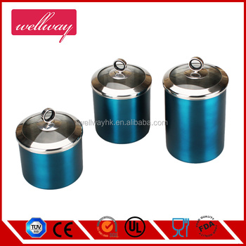 Canister Set Stainless Steel - Beautiful Canisters For Kitchen Counter -  3-piece Small Sized With Lid,Tea Coffee Sugar Canister - Buy Stainless  Steel ...
