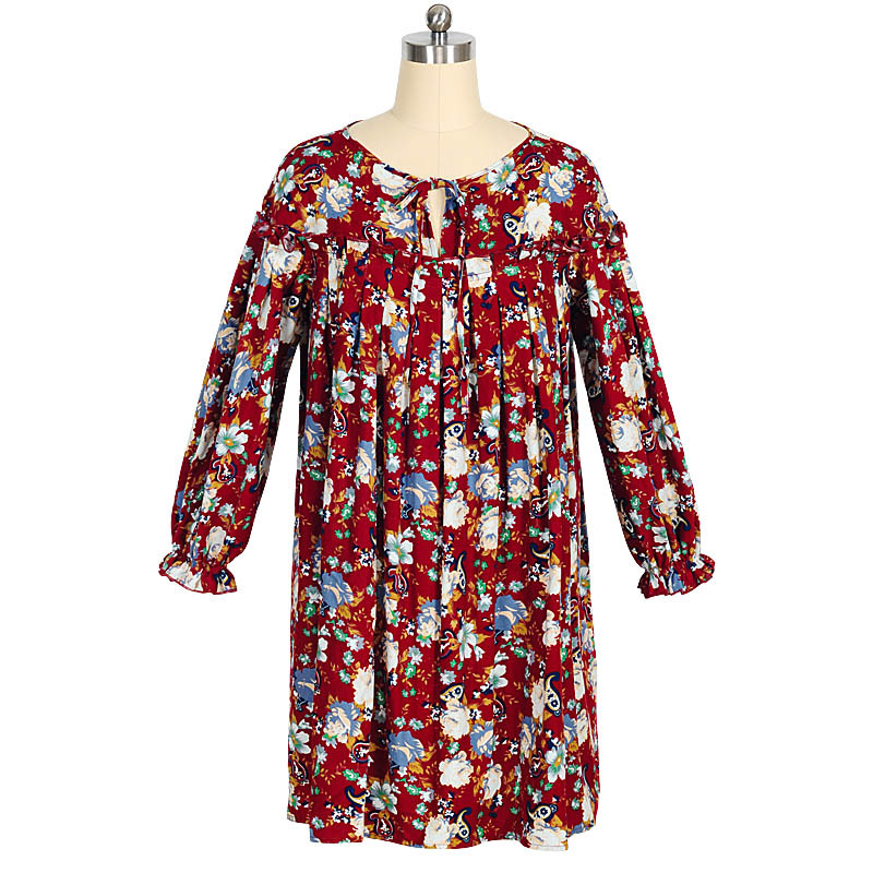 Autumn Winter Fashion Floral Printed Cotton Dress 2015 Petal Long Sleeve o-neck Casual Loose Draped Dresses Plus Size Clothing