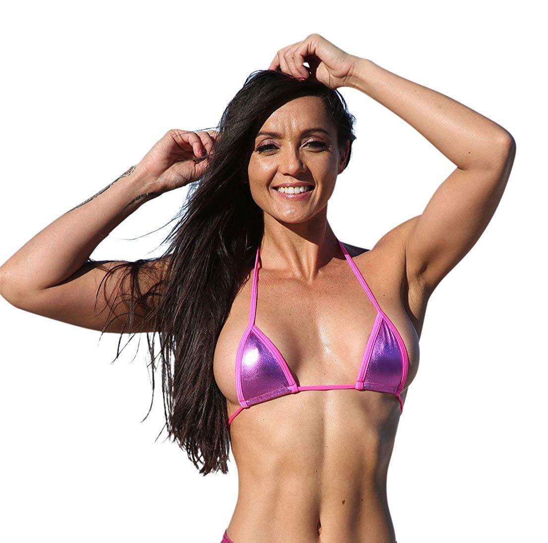 0e22a3a233e09 Get Quotations · Hot Pink Metallic Sassy Mini Triangle Top Bikini Tops